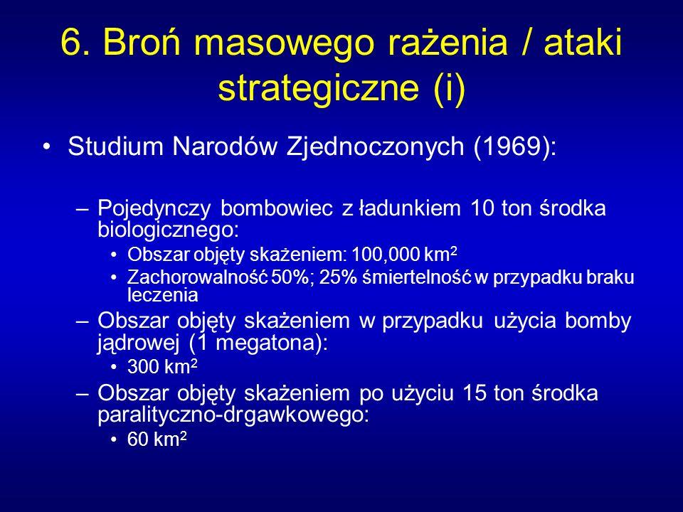 6. Broń masowego rażenia / ataki strategiczne (i) Studium Narodów Zjednoczonych (1969): –Pojedynczy bombowiec z ładunkiem 10 ton środka biologicznego: