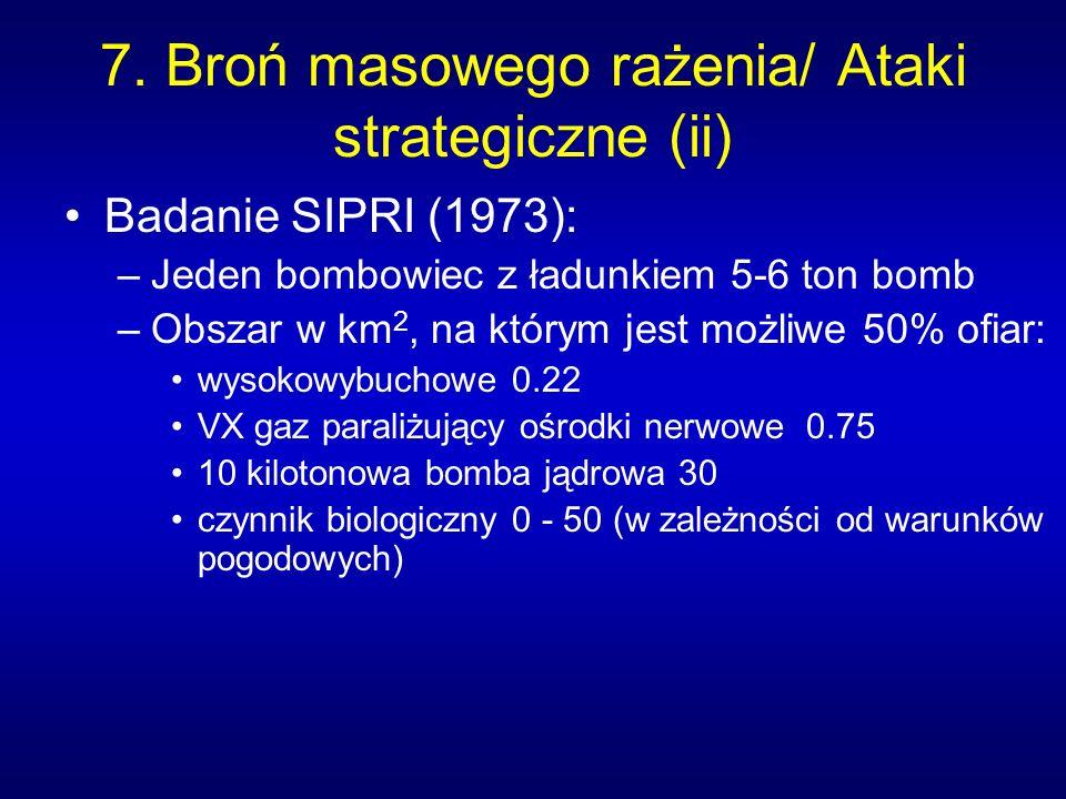 7. Broń masowego rażenia/ Ataki strategiczne (ii) Badanie SIPRI (1973): –Jeden bombowiec z ładunkiem 5-6 ton bomb –Obszar w km 2, na którym jest możli