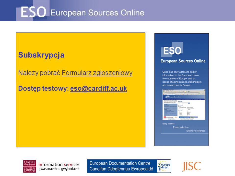 Dodatkowe informacje: Ian Thomson, ESO Executive Editor European Documentation Centre Cardiff University PO Box 430 Cardiff, CF24 0DE Wales, United Kingdom Tel: +44 (0)29 2087 4262 Email: eso@cardiff.ac.uk © Ian Thomson, Cardiff EDC, sierpień 2010 Tłumaczenie: Wiktor T.