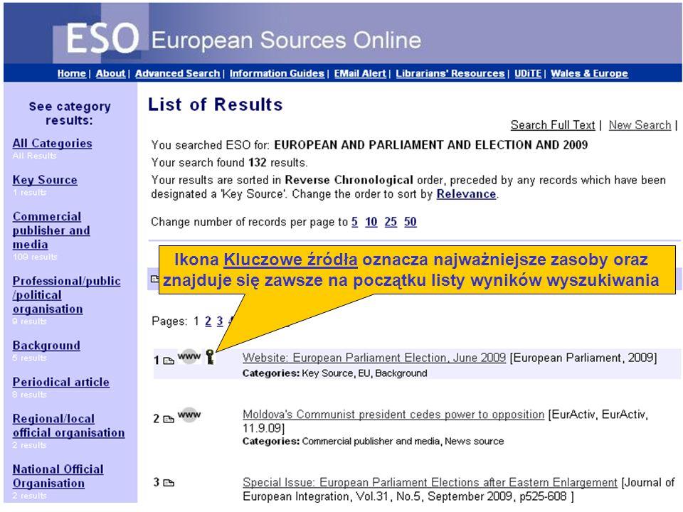 Ikona Kluczowe źródła oznacza najważniejsze zasoby oraz znajduje się zawsze na początku listy wyników wyszukiwania