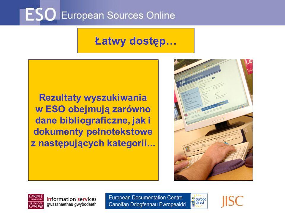 Rezultaty wyszukiwania w ESO obejmują zarówno dane bibliograficzne, jak i dokumenty pełnotekstowe z następujących kategorii...