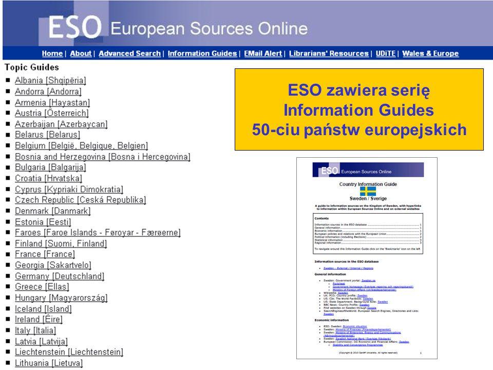 ESO zawiera serię Information Guides 50-ciu państw europejskich