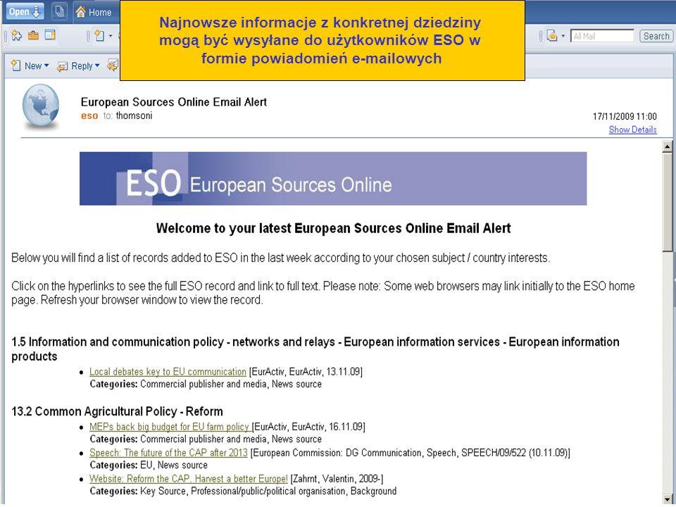 Najnowsze informacje z konkretnej dziedziny mogą być wysyłane do użytkowników ESO w formie powiadomień e-mailowych