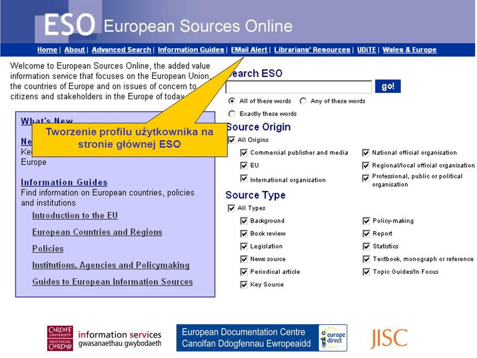Register for the Email Alert From the ESO Home Page Tworzenie profilu użytkownika na stronie głównej ESO