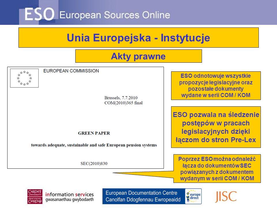 Unia Europejska - Instytucje ESO odnotowuje wszystkie propozycje legislacyjne oraz pozostałe dokumenty wydane w serii COM / KOM Poprzez ESO można odnaleźć łącza do dokumentów SEC powiązanych z dokumentem wydanym w serii COM / KOM ESO pozwala na śledzenie postępów w pracach legislacyjnych dzięki łączom do stron Pre-Lex Akty prawne