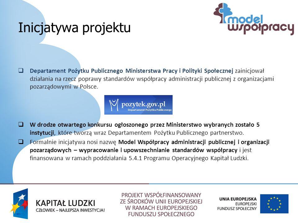 Inicjatywa projektu Departament Pożytku Publicznego Ministerstwa Pracy i Polityki Społecznej zainicjował działania na rzecz poprawy standardów współpracy administracji publicznej z organizacjami pozarządowymi w Polsce.
