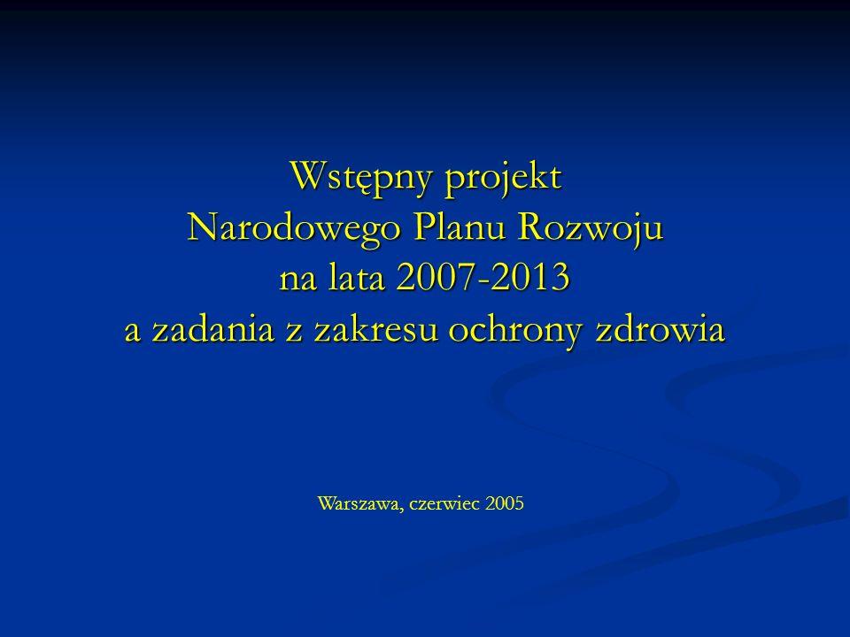 Wstępny projekt Narodowego Planu Rozwoju na lata 2007-2013 a zadania z zakresu ochrony zdrowia Warszawa, czerwiec 2005