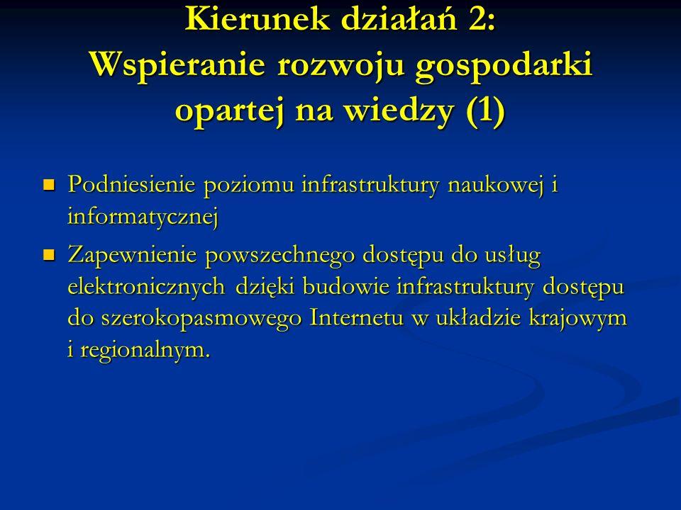 Kierunek działań 2: Wspieranie rozwoju gospodarki opartej na wiedzy (1) Podniesienie poziomu infrastruktury naukowej i informatycznej Podniesienie poziomu infrastruktury naukowej i informatycznej Zapewnienie powszechnego dostępu do usług elektronicznych dzięki budowie infrastruktury dostępu do szerokopasmowego Internetu w układzie krajowym i regionalnym.
