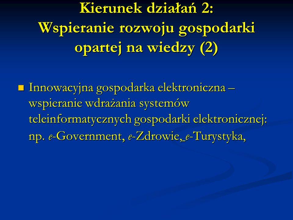 Kierunek działań 2: Wspieranie rozwoju gospodarki opartej na wiedzy (2) Innowacyjna gospodarka elektroniczna – wspieranie wdrażania systemów teleinformatycznych gospodarki elektronicznej: np.