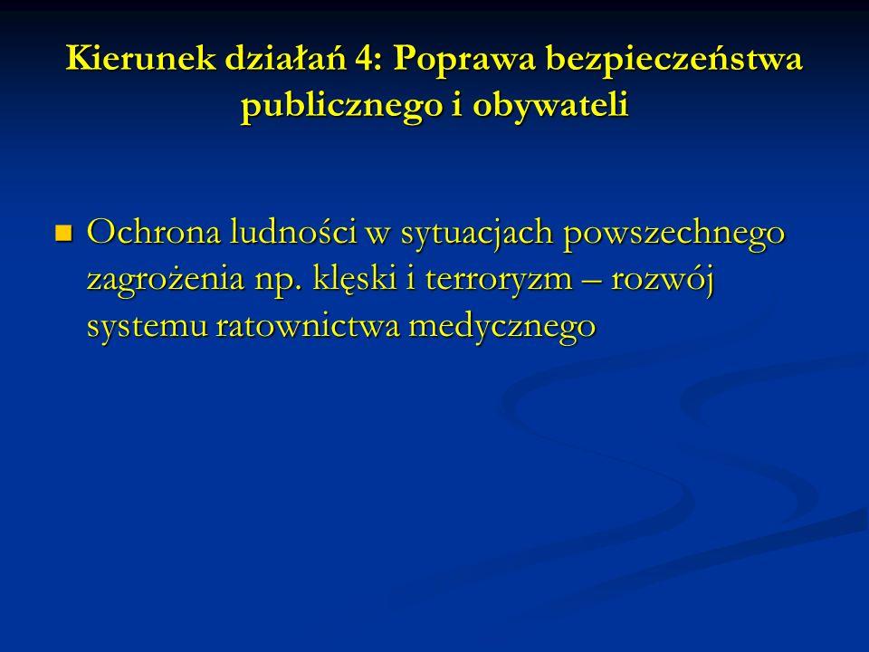 Kierunek działań 4: Poprawa bezpieczeństwa publicznego i obywateli Ochrona ludności w sytuacjach powszechnego zagrożenia np.