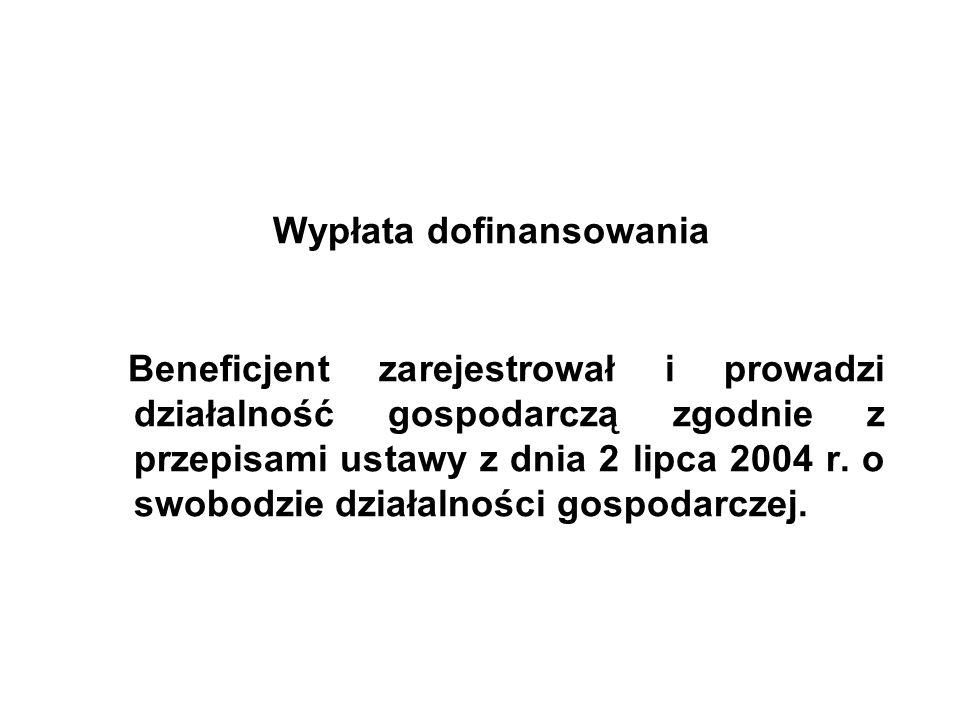 Wypłata dofinansowania Beneficjent zarejestrował i prowadzi działalność gospodarczą zgodnie z przepisami ustawy z dnia 2 lipca 2004 r.