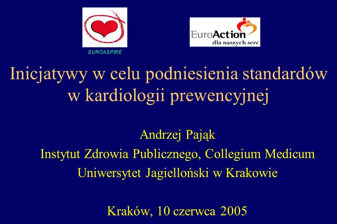 Inicjatywy w celu podniesienia standardów w kardiologii prewencyjnej Andrzej Pająk Instytut Zdrowia Publicznego, Collegium Medicum Uniwersytet Jagiell