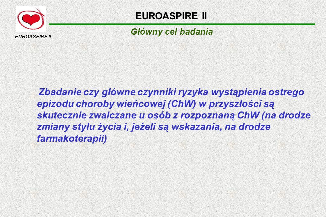 Główny cel badania EUROASPIRE II Zbadanie czy główne czynniki ryzyka wystąpienia ostrego epizodu choroby wieńcowej (ChW) w przyszłości są skutecznie z