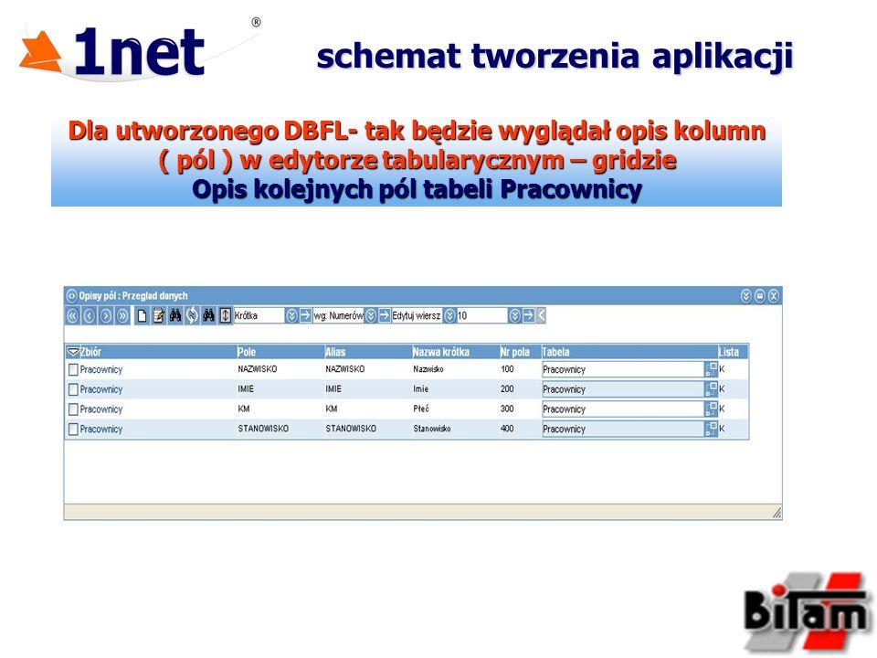 Dla utworzonego DBFL- tak będzie wyglądał opis kolumn ( pól ) w edytorze tabularycznym – gridzie Opis kolejnych pól tabeli Pracownicy schemat tworzeni