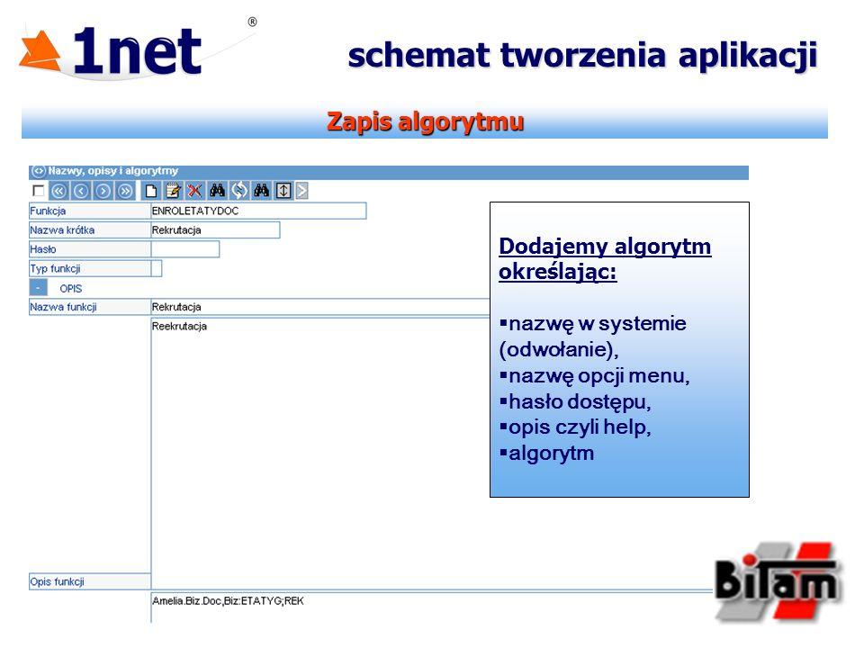 Zapis algorytmu schemat tworzenia aplikacji Dodajemy algorytm określając: nazwę w systemie (odwołanie), nazwę opcji menu, hasło dostępu, opis czyli he