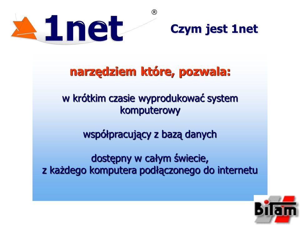 narzędziem które, pozwala: w krótkim czasie wyprodukować system komputerowy współpracujący z bazą danych dostępny w całym świecie, z każdego komputera podłączonego do internetu Czym jest 1net