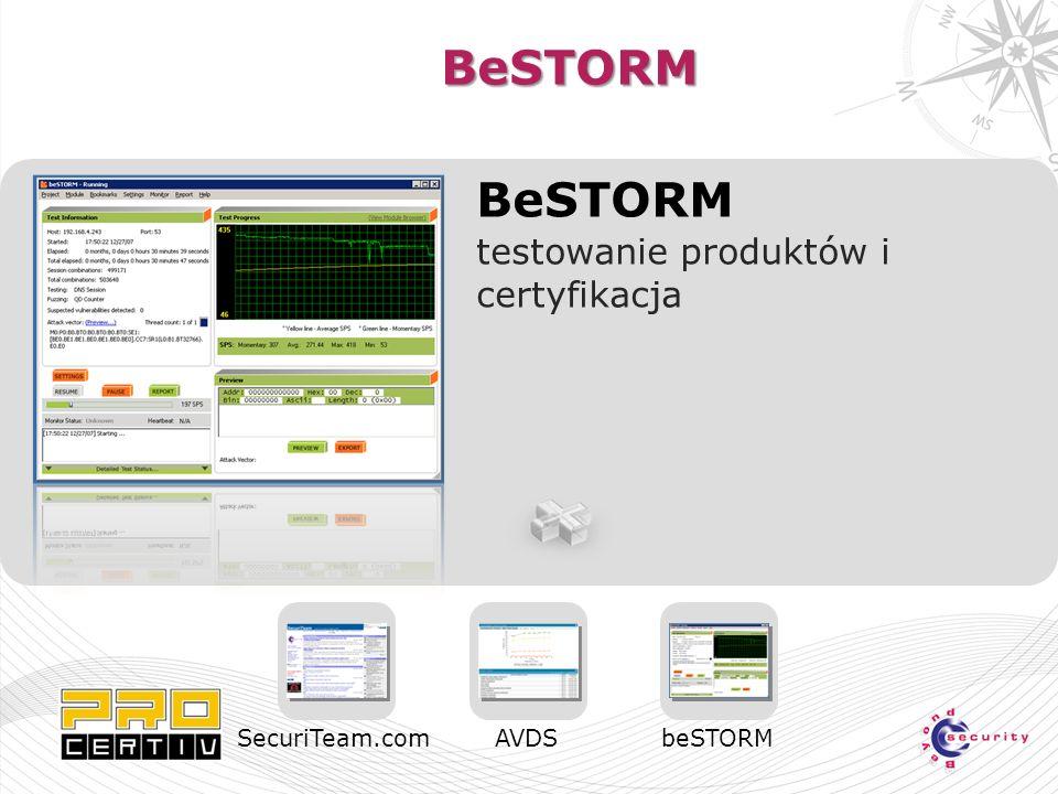 BeSTORM BeSTORM testowanie produktów i certyfikacja SecuriTeam.comAVDSbeSTORM