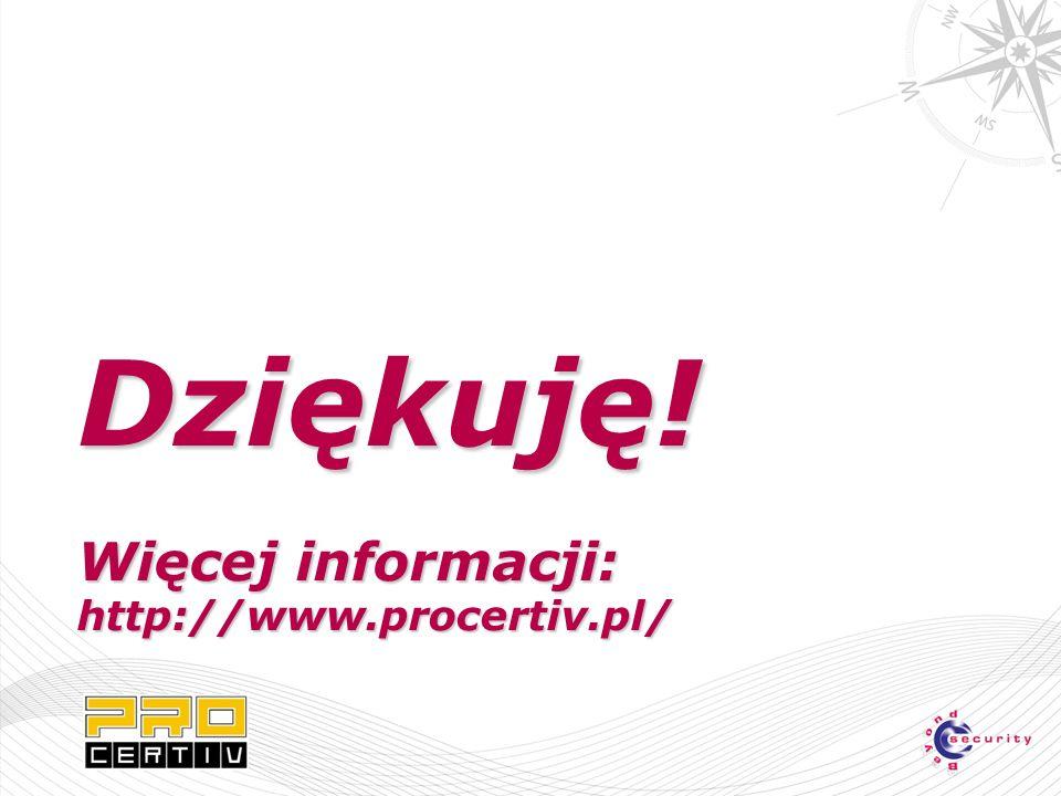 Dziękuję! Więcej informacji: http://www.procertiv.pl/