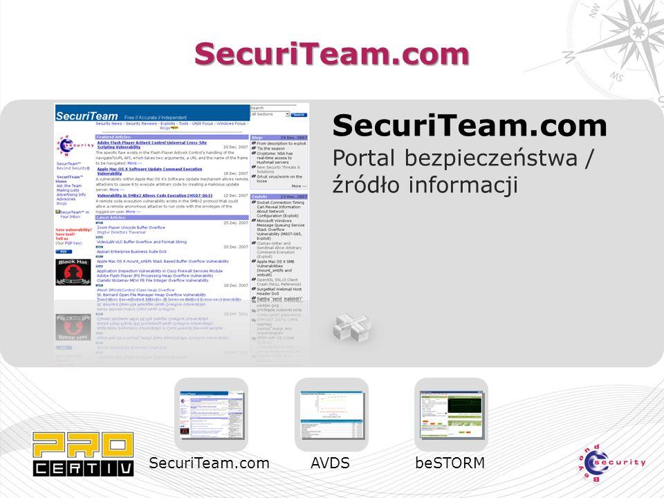 SecuriTeam.com SecuriTeam.com Portal bezpieczeństwa / źródło informacji SecuriTeam.comAVDSbeSTORM