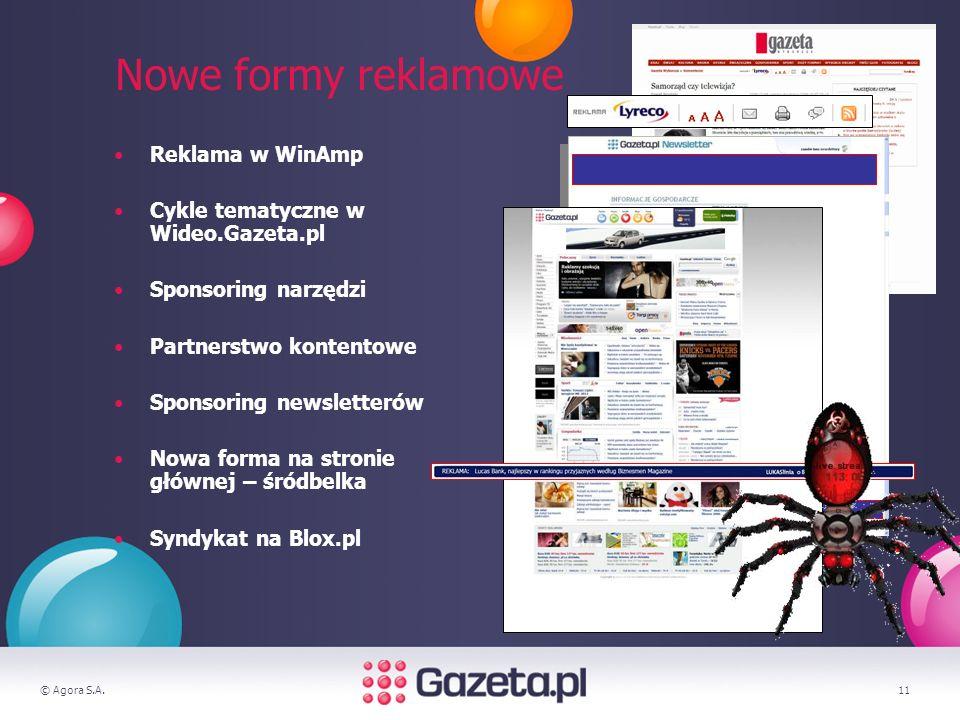 © Agora S.A.11 Nowe formy reklamowe Reklama w WinAmp Cykle tematyczne w Wideo.Gazeta.pl Sponsoring narzędzi Partnerstwo kontentowe Sponsoring newsletterów Nowa forma na stronie głównej – śródbelka Syndykat na Blox.pl