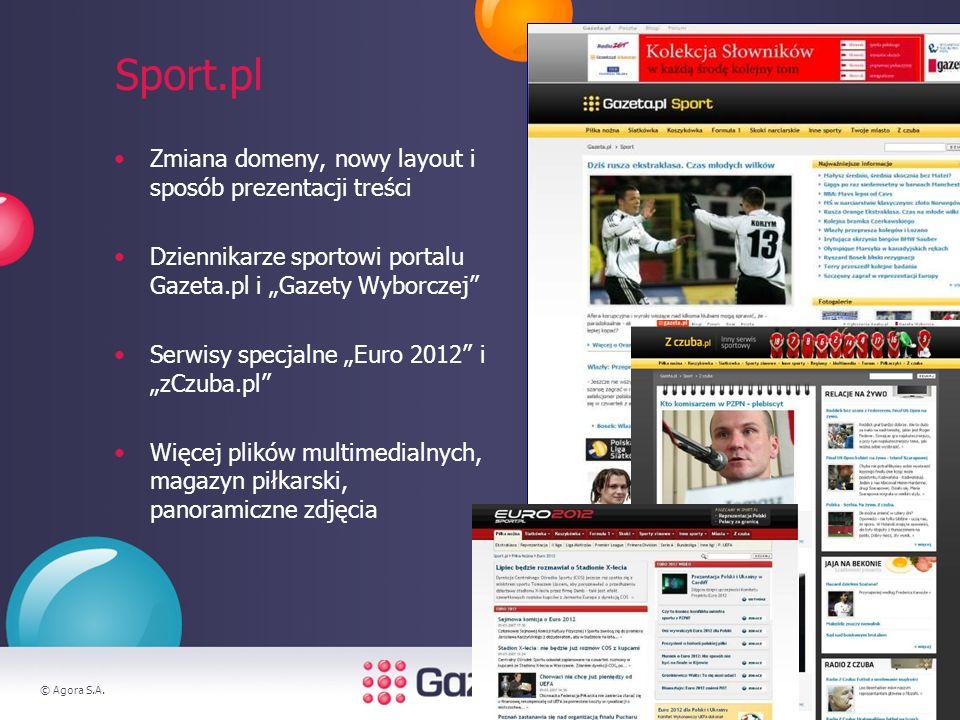 © Agora S.A.4 Sport.pl Zmiana domeny, nowy layout i sposób prezentacji treści Dziennikarze sportowi portalu Gazeta.pl i Gazety Wyborczej Serwisy specjalne Euro 2012 i zCzuba.pl Więcej plików multimedialnych, magazyn piłkarski, panoramiczne zdjęcia