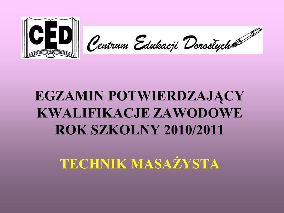 EGZAMIN POTWIERDZAJĄCY KWALIFIKACJE ZAWODOWE ROK SZKOLNY 2010/2011 TECHNIK MASAŻYSTA