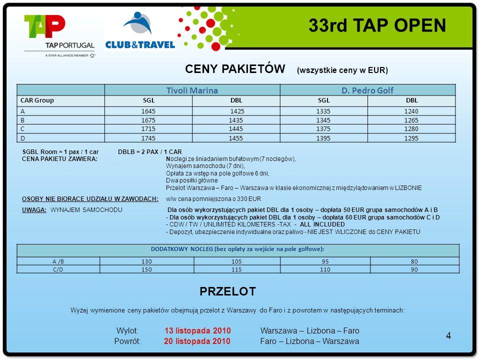 33rd TAP OPEN » TRENING na QUINTA DA RIA & QUINTA DE CIMADodatkowa opłata 30 EUR / 1 os Rezerwacji można dokonywać tylko do 01.10.2010.
