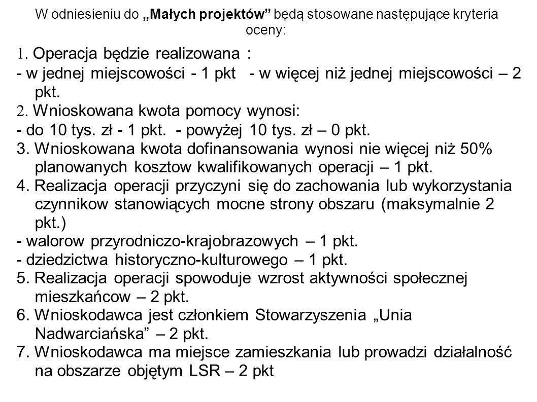 W odniesieniu do Małych projektów będą stosowane następujące kryteria oceny: Operacja będzie realizowana : - w jednej miejscowości - 1 pkt - w więcej niż jednej miejscowości – 2 pkt.