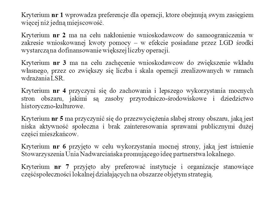 Kryterium nr 1 wprowadza preferencje dla operacji, ktore obejmują swym zasięgiem więcej niż jedną miejscowość.
