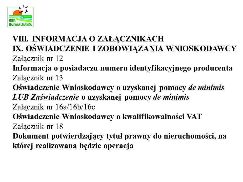 VIII. INFORMACJA O ZAŁĄCZNIKACH IX.