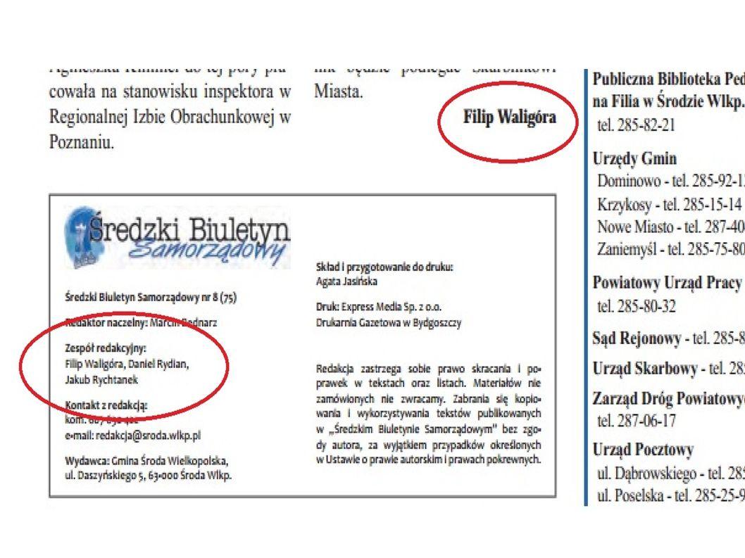 Radny ZJ Robert Kaźmierczak w wywiadzie dla Głosu Powiatu Średzkiego z dnia 8 stycznia 2014 roku Radny skarży się, że władze Jarocina nie informowały dotychczas w sposób wystarczający radnych o sytuacji w ZGO i Porozumieniu Jarocińskim.