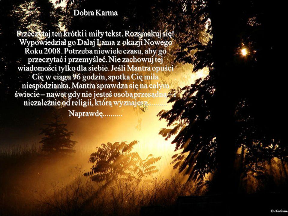 Dobra Karma Przeczytaj ten krótki i miły tekst.Rozsmakuj się.