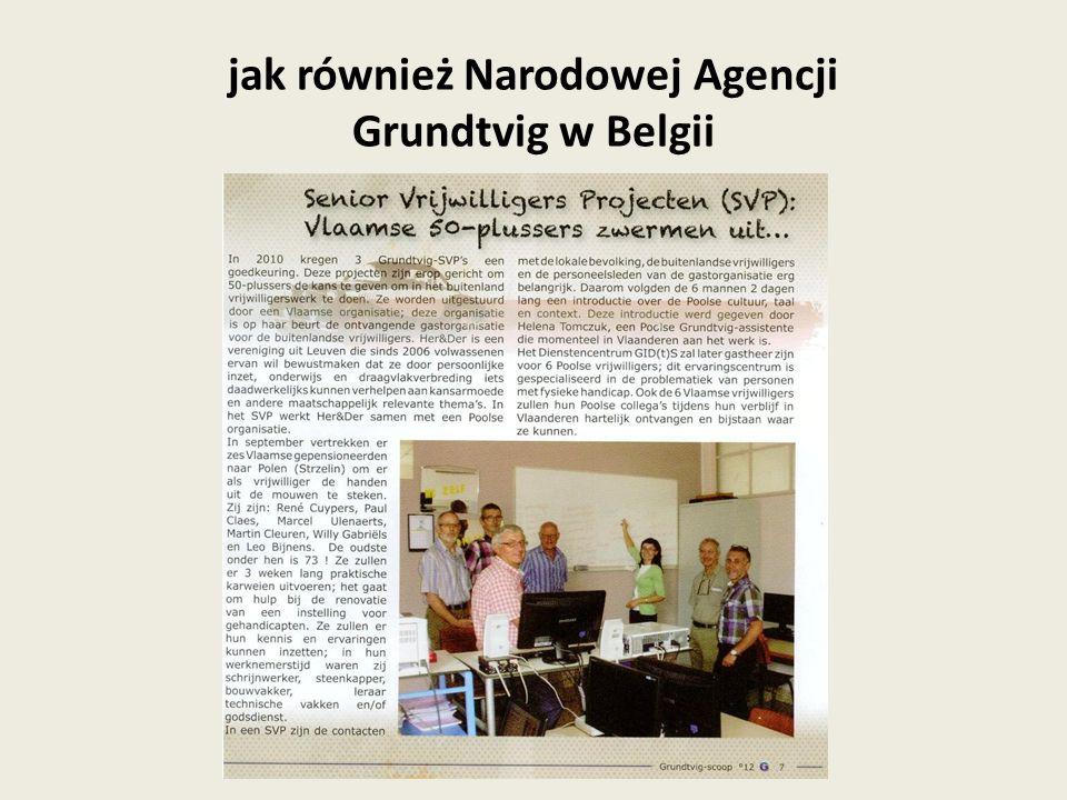 10 kwietnia miałam przyjemność powitać polską grupę wolontariuszy seniorów Moim głównym zadaniem jest regularny kontakt z grupą, rozwiązywanie problemów, przybliżenie im kultury Belgii (planowania jest wizyta w Leuven, spotkanie ewaluacyjne połączone ze zwiedzaniem miasta), oraz ułatwienie kontaktu pomiędzy grupą polską a flamandzką poprzez pracę w charakterze tłumacza