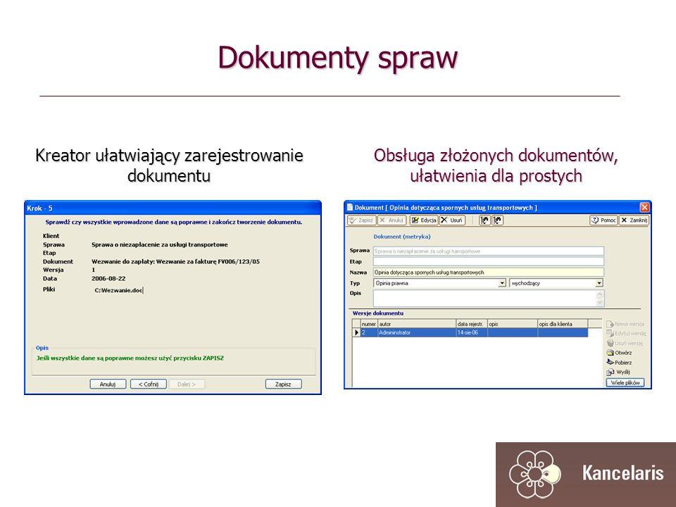 Dokumenty spraw Kreator ułatwiający zarejestrowanie dokumentu Obsługa złożonych dokumentów, ułatwienia dla prostych