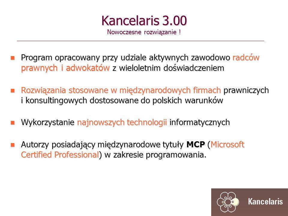 Program opracowany przy udziale aktywnych zawodowo radców prawnych i adwokatów z wieloletnim doświadczeniem Program opracowany przy udziale aktywnych zawodowo radców prawnych i adwokatów z wieloletnim doświadczeniem Rozwiązania stosowane w międzynarodowych firmach prawniczych i konsultingowych dostosowane do polskich warunków Rozwiązania stosowane w międzynarodowych firmach prawniczych i konsultingowych dostosowane do polskich warunków Wykorzystanie najnowszych technologii informatycznych Wykorzystanie najnowszych technologii informatycznych Autorzy posiadający międzynarodowe tytuły MCP (Microsoft Certified Professional) w zakresie programowania.