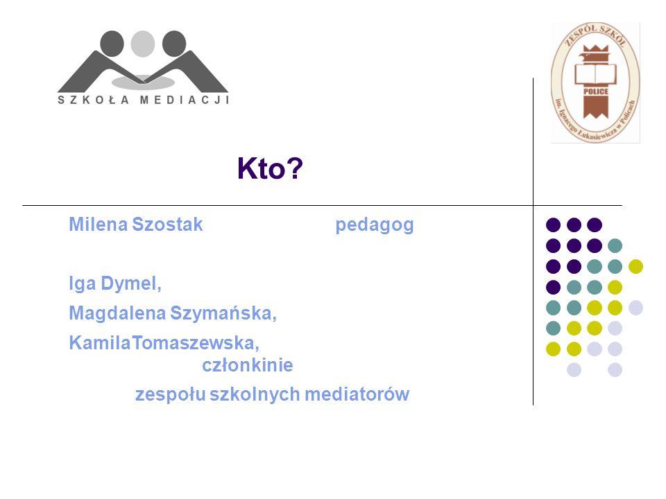 Kto? Milena Szostak pedagog Iga Dymel, Magdalena Szymańska, KamilaTomaszewska, członkinie zespołu szkolnych mediatorów