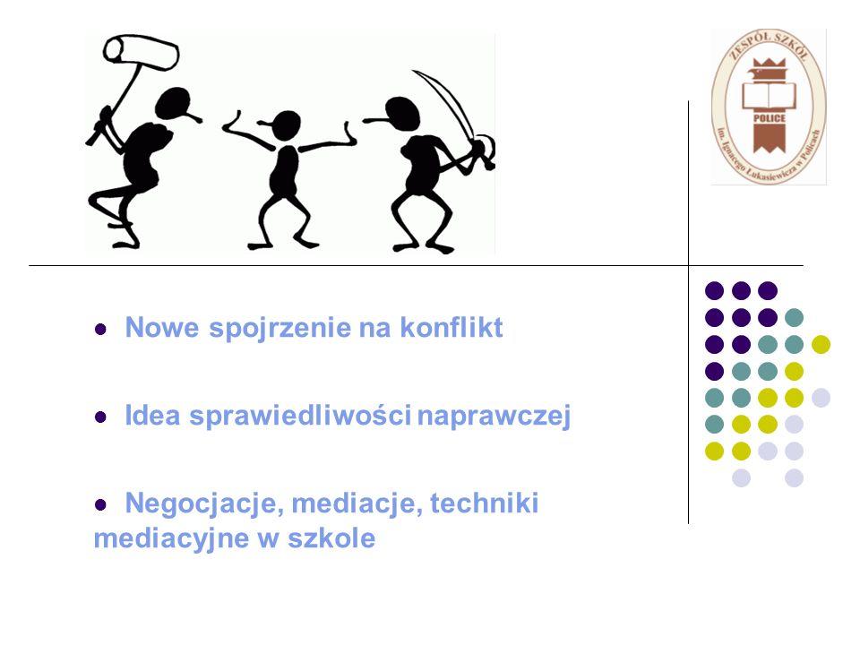 Nowe spojrzenie na konflikt Idea sprawiedliwości naprawczej Negocjacje, mediacje, techniki mediacyjne w szkole