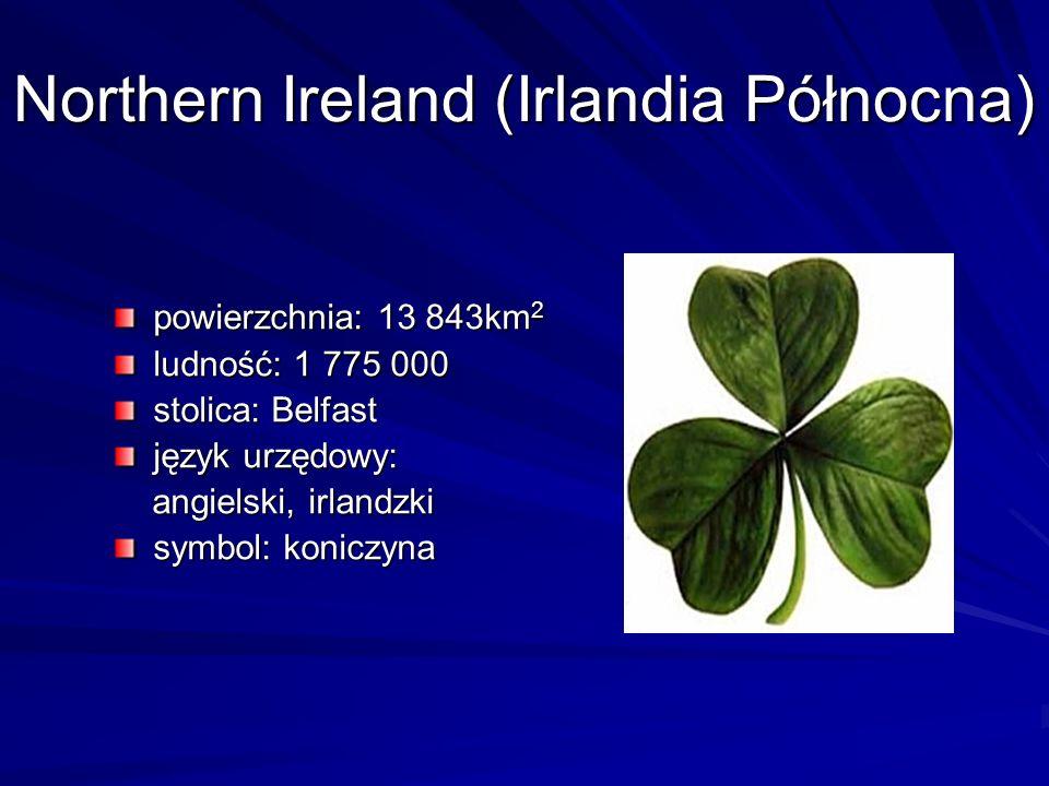 Northern Ireland (Irlandia Północna) powierzchnia: 13 843km 2 ludność: 1 775 000 stolica: Belfast język urzędowy: angielski, irlandzki angielski, irla