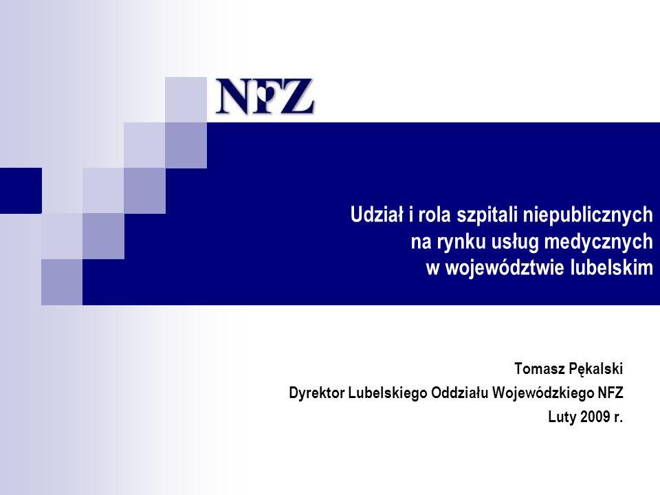 Udział i rola szpitali niepublicznych na rynku usług medycznych w województwie lubelskim Tomasz Pękalski Dyrektor Lubelskiego Oddziału Wojewódzkiego NFZ Luty 2009 r.