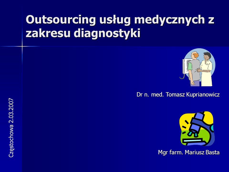 Outsourcing usług medycznych z zakresu diagnostyki Częstochowa 2.03.2007 Dr n.