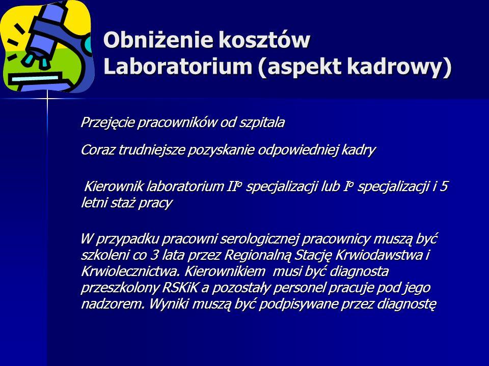 Obniżenie kosztów Laboratorium (aspekt kadrowy) Przejęcie pracowników od szpitala Przejęcie pracowników od szpitala Coraz trudniejsze pozyskanie odpowiedniej kadry Coraz trudniejsze pozyskanie odpowiedniej kadry Kierownik laboratorium II o specjalizacji lub I o specjalizacji i 5 letni staż pracy Kierownik laboratorium II o specjalizacji lub I o specjalizacji i 5 letni staż pracy W przypadku pracowni serologicznej pracownicy muszą być szkoleni co 3 lata przez Regionalną Stację Krwiodawstwa i Krwiolecznictwa.