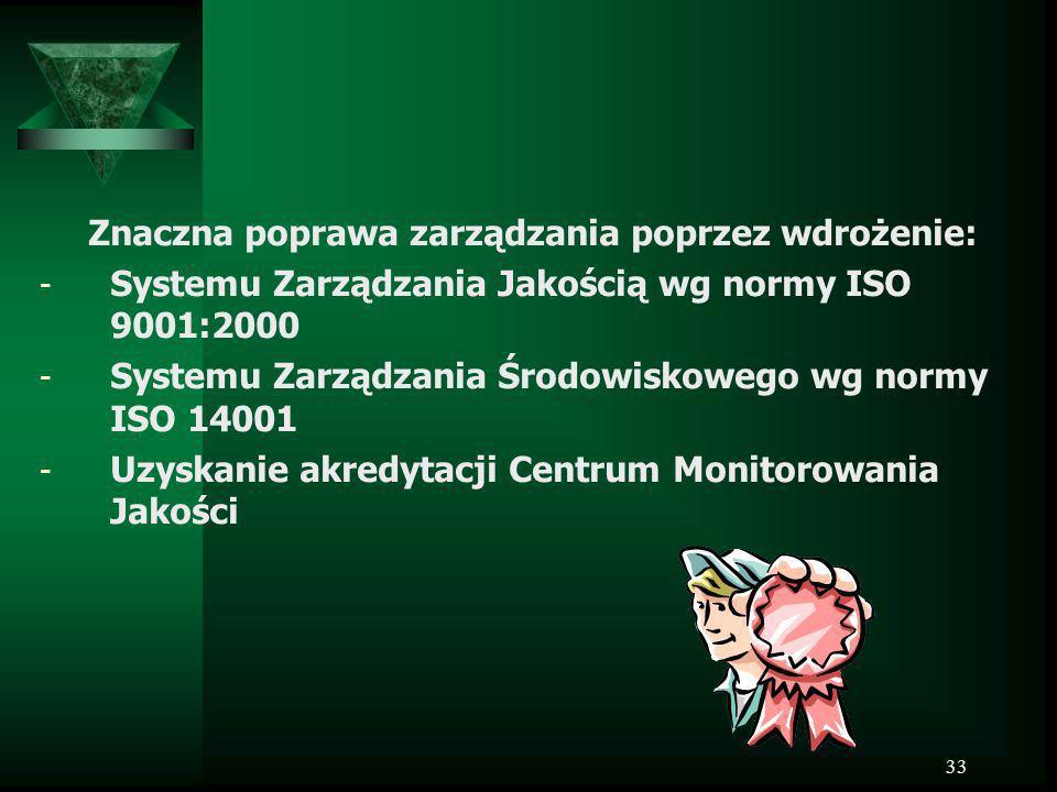 33 Znaczna poprawa zarządzania poprzez wdrożenie: - Systemu Zarządzania Jakością wg normy ISO 9001:2000 - Systemu Zarządzania Środowiskowego wg normy