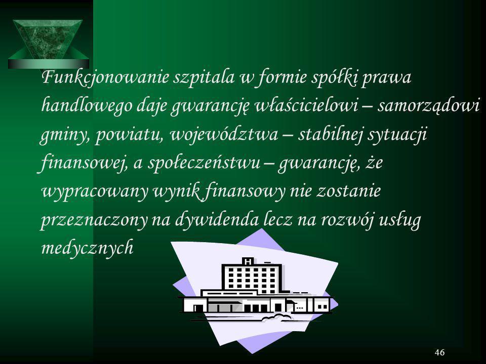 46 Funkcjonowanie szpitala w formie spółki prawa handlowego daje gwarancję właścicielowi – samorządowi gminy, powiatu, województwa – stabilnej sytuacj