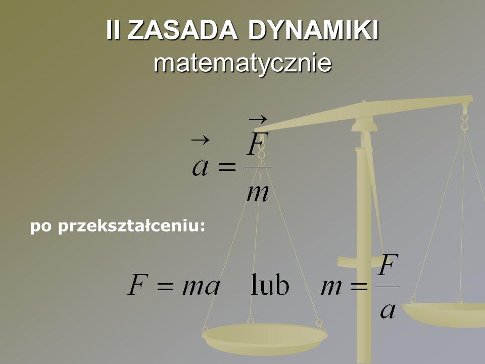 II ZASADA DYNAMIKI matematycznie po przekształceniu: