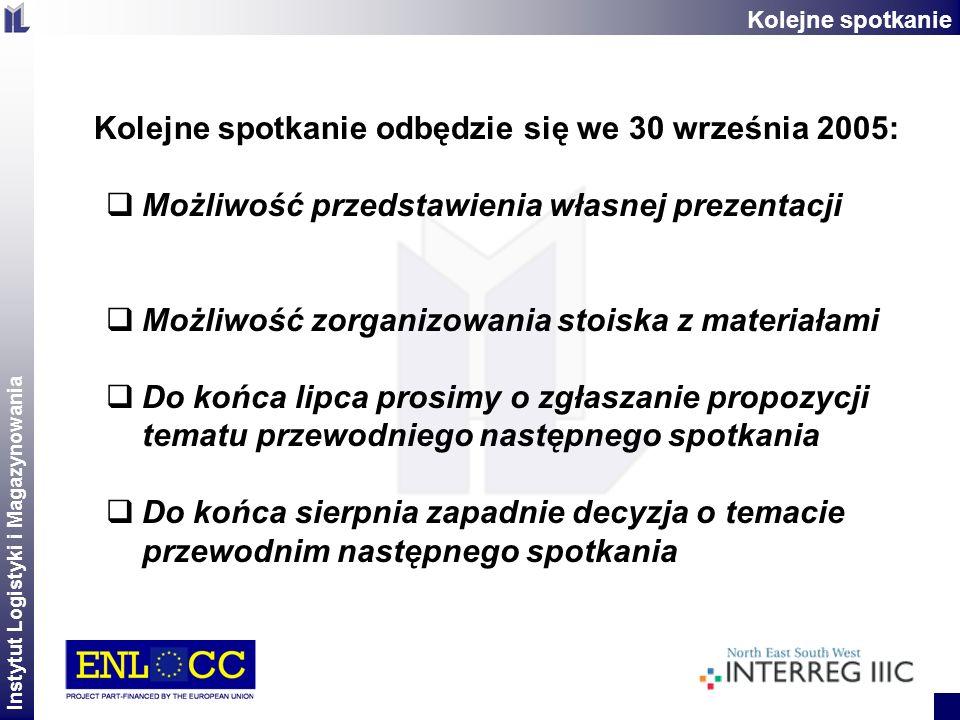 Instytut Logistyki i Magazynowania 2 Kolejne spotkanie odbędzie się we 30 września 2005: Możliwość przedstawienia własnej prezentacji Możliwość zorgan