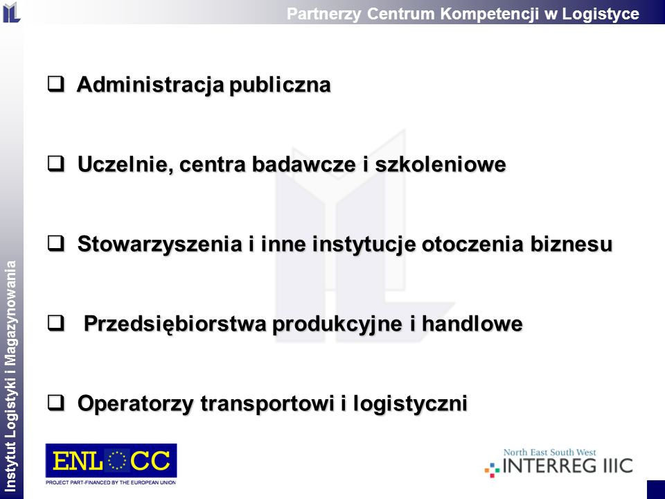 Instytut Logistyki i Magazynowania 2 zaangażowanie regionalnych stowarzyszeń, organizacji wsparcia biznesu oraz regionalnych władz w proces tworzenia regionalnej sieci współpracy tworzenie warunków sprzyjających współpracy tych instytucji stworzenie wspólnej wizji rozwoju logistyki w regionie zbieranie i informacji o regionalnych potrzebach w zakresie rozwoju logistyki rozpowszechnianie informacji o innowacjach logistycznych zgodnie ze specyficznymi potrzebami regionu definiowanie zakresów szkoleń logistycznych dla różnych grup odbiorców Zadania dotyczące działalności Centrum