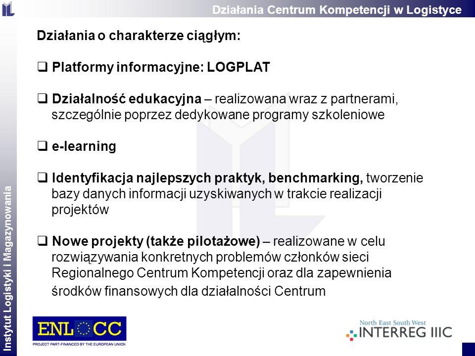 Instytut Logistyki i Magazynowania 2 Działania o charakterze ciągłym: Platformy informacyjne: LOGPLAT Działalność edukacyjna – realizowana wraz z part