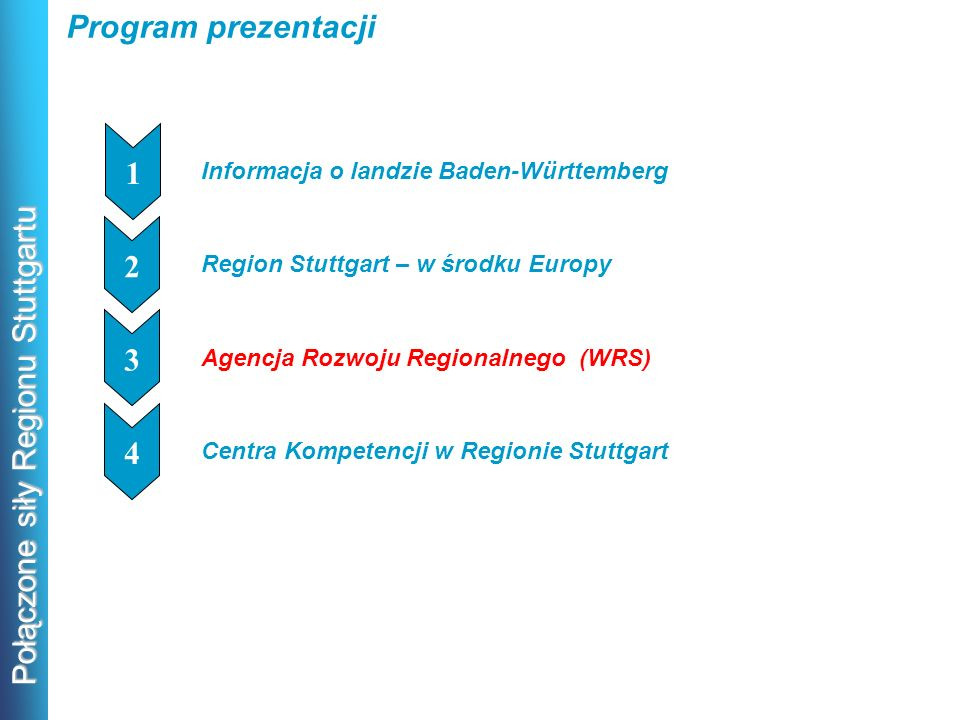 Połączone siły Regionu Stuttgartu Program prezentacji Informacja o landzie Baden-Württemberg 1 1 Region Stuttgart – w środku Europy 1 2 Agencja Rozwoj