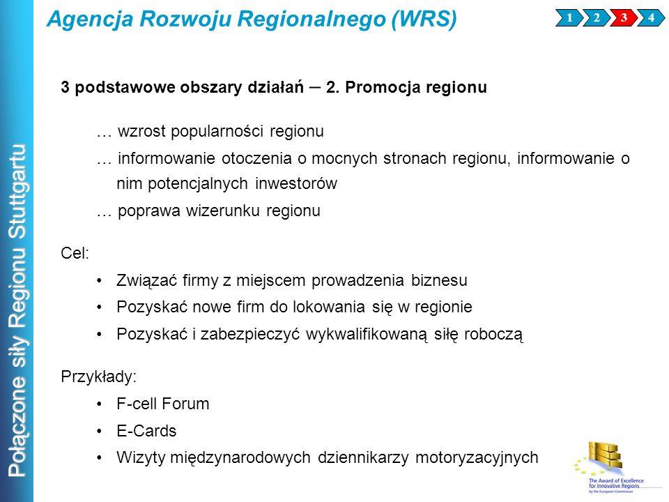 Połączone siły Regionu Stuttgartu Agencja Rozwoju Regionalnego (WRS) 3241 3 podstawowe obszary działań – 2. Promocja regionu … wzrost popularności reg