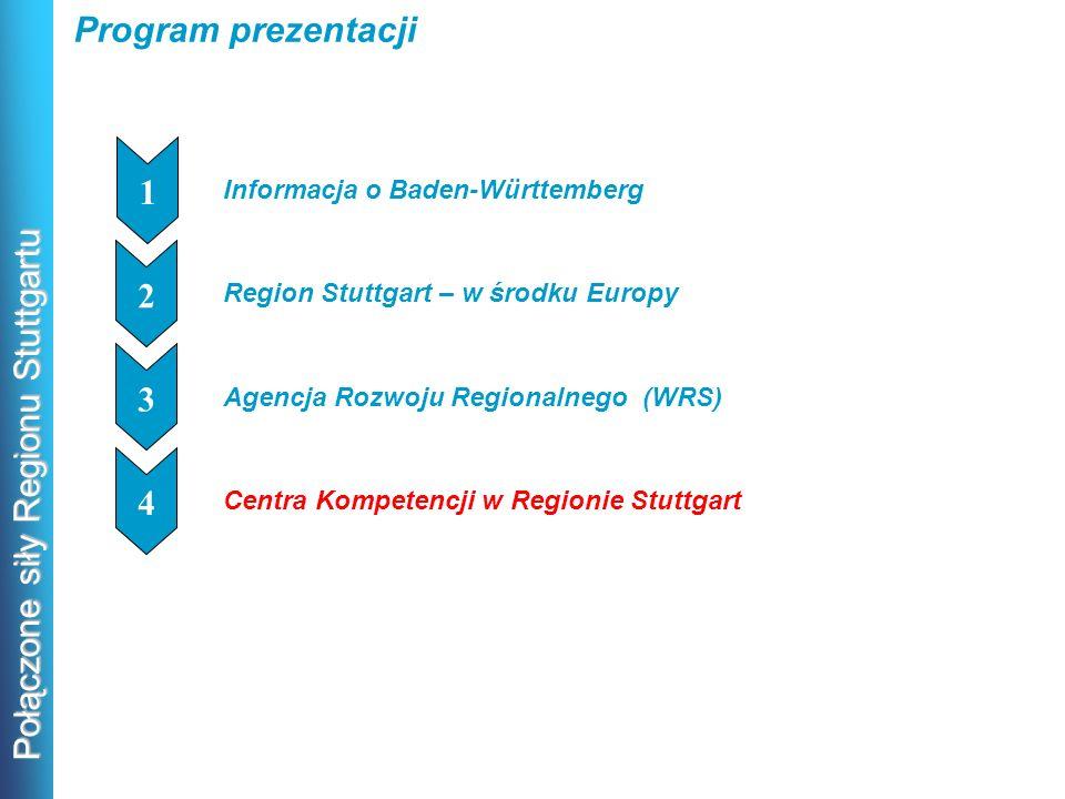 Połączone siły Regionu Stuttgartu Program prezentacji Informacja o Baden-Württemberg 1 1 Region Stuttgart – w środku Europy 1 2 Agencja Rozwoju Region